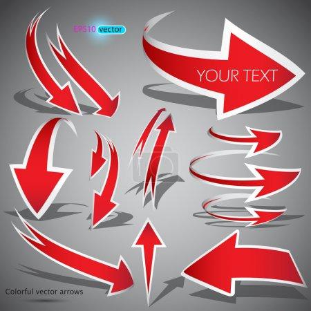 Illustration pour Flèches rouges sur fond gris. Illustration vectorielle - image libre de droit