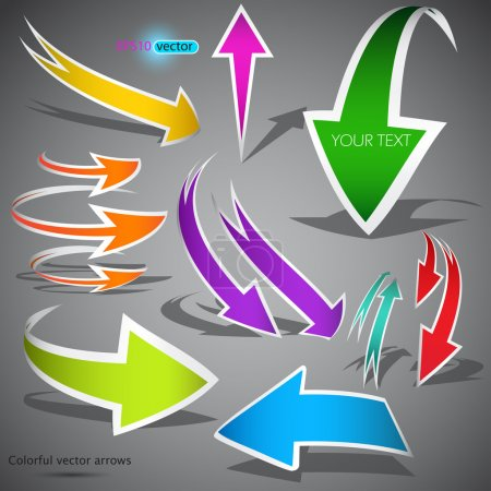 Colorful arrows on grey background. Vector illustration