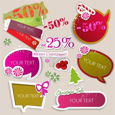 Illustration pour Bulles de papier pour la parole. Vente de Noël - image libre de droit