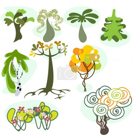 Set of nine different trees