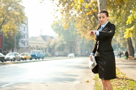 Business woman is late