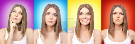 Photo for Collage of colors and emotion, girl with facial expressions on colorful background - Royalty Free Image