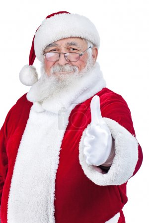 Photo for Santa with thumb up isolated over a white background - Royalty Free Image