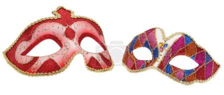 Photo pour Deux masques vénitiens isolés sur fond blanc. - image libre de droit