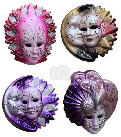 Collage of four colorful Venetian masks