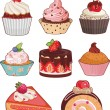 Set of appetizing cakes with different berries and...