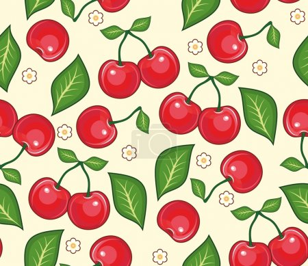 Illustration for Red cherries with green leaves on a yellow background. A seamless vector background - Royalty Free Image