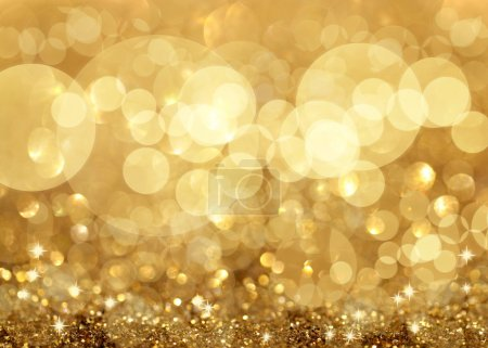 Photo for Twinkley Lights and Stars Christmas Golden Background - Royalty Free Image