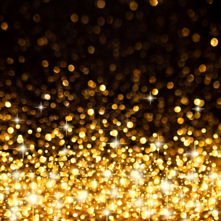 Photo for Image of Golden Christmas Lights Background - Royalty Free Image