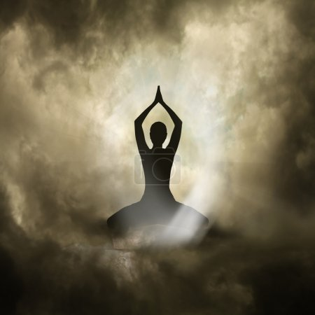 Photo pour Illustration du Yoga et Spiritualité Arrière-plan noir - image libre de droit