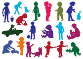 Set of drawn colored silhouettes of children (kids) and children play dance walk drink from glass move on child's car play with a dog cry