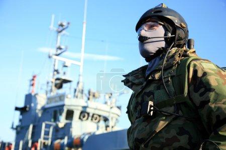 A Navy Seals team, marine soldier