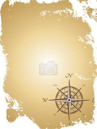 Illustration for Blank old paper map with compass. Vector illustration - Royalty Free Image