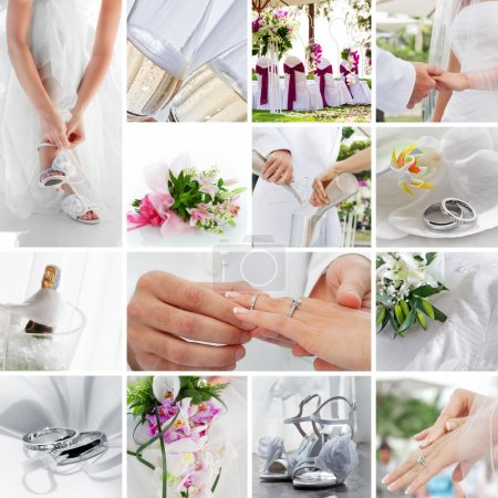 Photo for Wedding theme collage composed of different images - Royalty Free Image