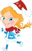 Snow Maiden on the skates in christmas hat