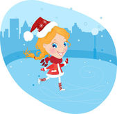 Snow Maiden on the skates in christmas costume