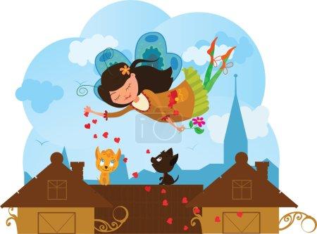 Illustration pour Mignon dessin animé amour fée avec des cœurs et des chats - image libre de droit