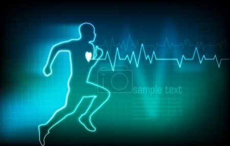 Ecg and running human outline