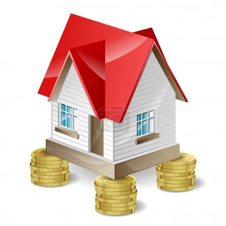 Illustration pour La maison avec un toit rouge coûte cher - image libre de droit