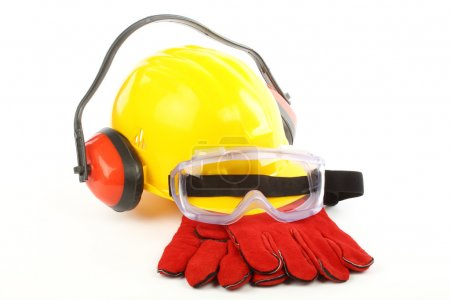Photo for Safety gear kit close up over white - Royalty Free Image