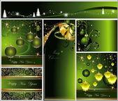 Veselé Vánoce a šťastný nový rok kolekce zlaté a zelené