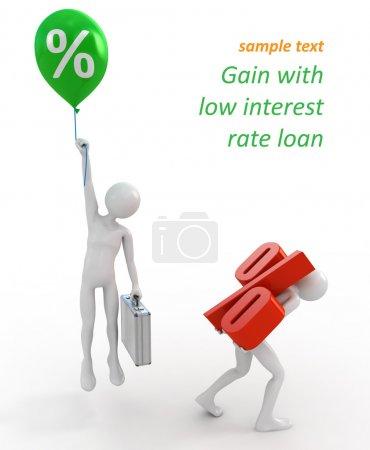 Photo pour Hommes d'affaires avec les prêts à taux élevé et faible - image libre de droit