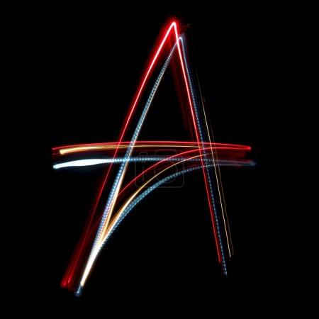 Letter A made from brightly coloured neon lights