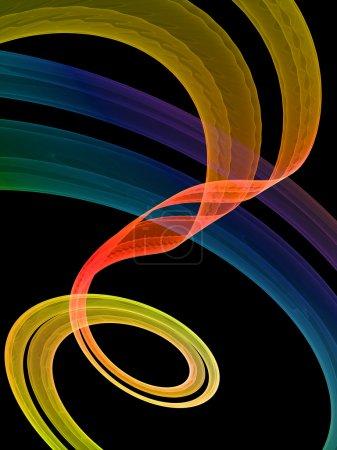 Photo pour Tourbillon multicolore abstraction rouge sur fond noir - image libre de droit