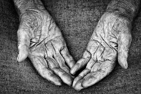 Photo pour Gros plan des paumes ouvertes de la vieille femme, peu profonde DOF - image libre de droit