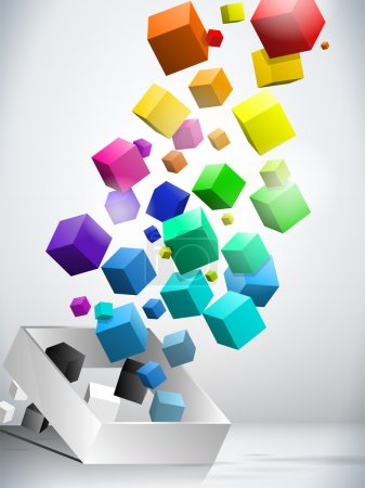 Photo pour Vector - fond coloré de cubes volants - image libre de droit