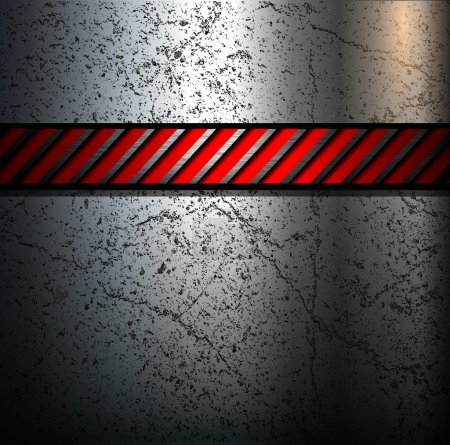 Illustration for Metal background with warning stripe, vector. - Royalty Free Image