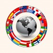 Business background, ring of flags around earth, v...
