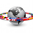 Earth planet with orbit made from national flags...