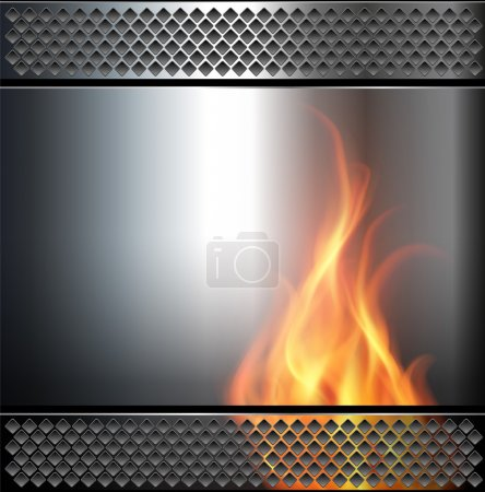 Illustration for Abstract background, metallic with vector fire flame. - Royalty Free Image