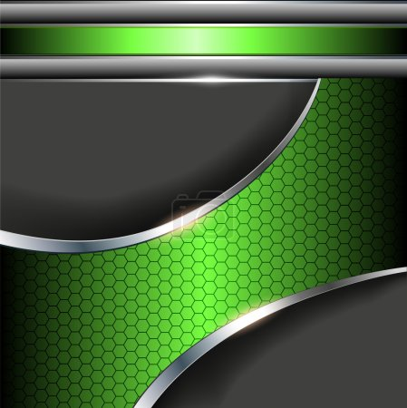 Illustration for Abstract background with green metallic banner. - Royalty Free Image