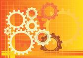 Vector orange gears background illustration