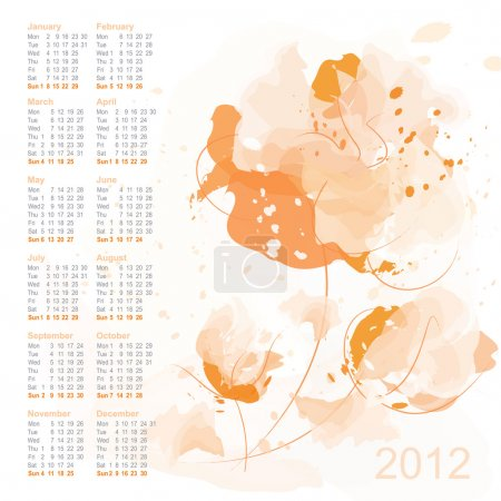 Calendar 2012 with watercolor flowers