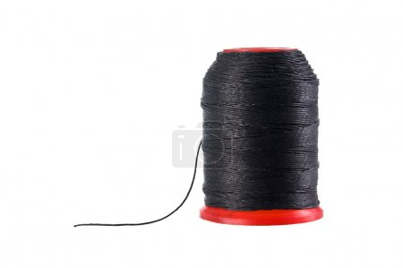 Spool of black thread isolated with clipping path.