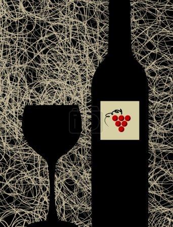 Illustration pour Menu de cave contemporain fond de conception. Silhouette bouteille et verre - image libre de droit