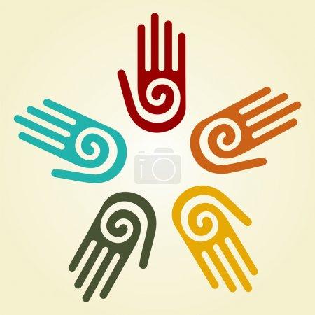 Illustration pour Main avec un symbole en spirale sur la paume, sur un fond de cercle de mains. Vecteur disponible . - image libre de droit