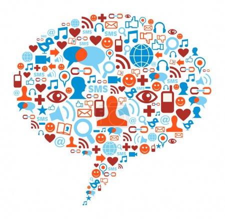 Photo pour Forme de bulle des médias sociaux faite avec des icônes de communication mondiale - image libre de droit