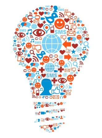 Lamp symbol in social media network icons