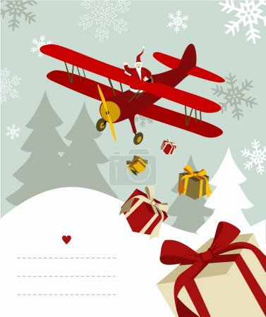 Illustration pour Père Noël jetant des cadeaux d'un avion avec des lignes vierges pour écrire sur fond neigeux. Fichier vectoriel disponible. - image libre de droit