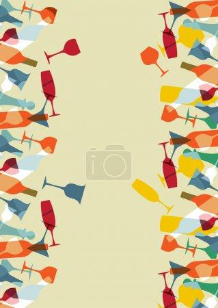 Illustration pour Verres de boissons transparentes colorées et bouteilles fond de texture vectorielle. - image libre de droit