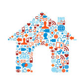 House symbol with media icons texture