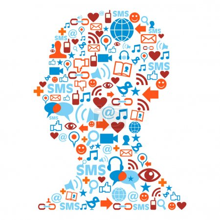 Human head silhouette with social icons