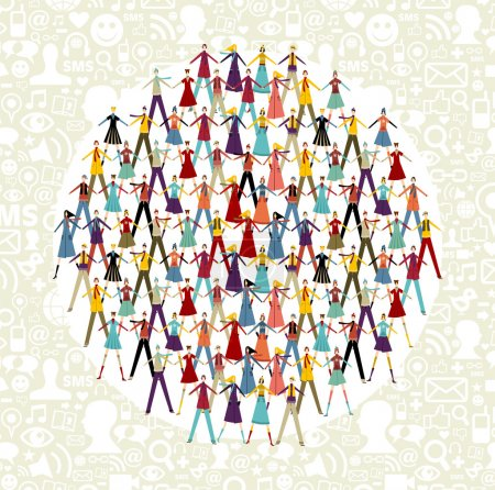 Illustration for Taked by hands group in circle shape. Social icons set pattern background. - Royalty Free Image