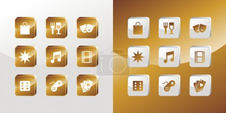 Entertainment gold icons set