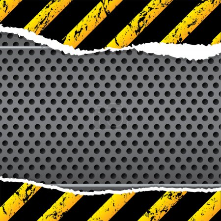 Illustration for Industrial background design with striped and torn paper - Royalty Free Image