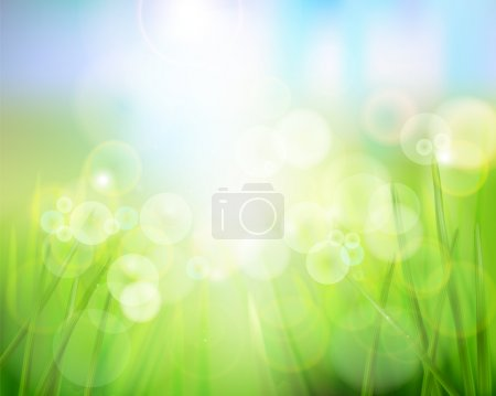 Illustration for Spring nature background with grass. Vector illustration. - Royalty Free Image